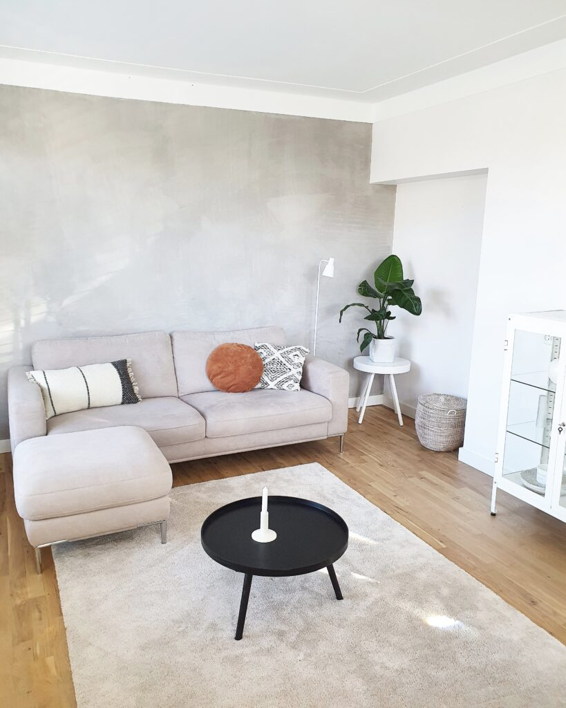 Binnenkijken bij Anouska,  wonen in Enschede, Op een mooi vloerkleed staat een grijze 2 zitbank. De stoere grijze muur maar het plaatje compleet.